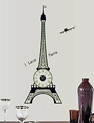 Luminous Wall Stickers Wall Decals Iron Tower and Battery Clock  Feature Removable  PVC Wall Stickers