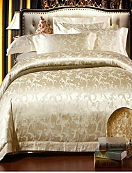 H&C ® Satin with Jacquard  Duvet Cover Set  4 Pieces Floral Pattern European Palace Style