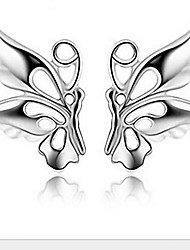 Women's Silver Butterfly Stud Earrings