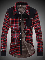 Men's Winter Thickened Plus Cashmere Thermal Long Sleeved Plaid Shirt