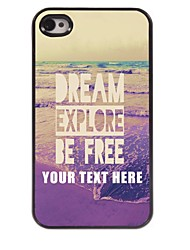 Personalized Phone Case - Dream Explore Be Free Design Metal Case for iPhone 4/4S