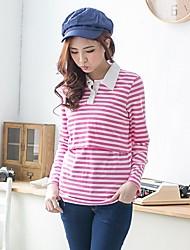 Women's Casual Striped Shirt Collar Breastfeeding Nursing Maternity T-Shirt