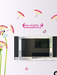 Wall Stickers Wall Decals, Chinese Style Fairy Umbrella Dandelion PVC Wall Stickers
