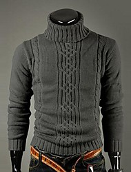 Men's High Turndown Collar Sleeve Jacquard Sweater