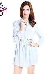 haoduoyi® Women's String Hollow Out Waist Light Blue Crowl Neck Mid-length Loose Long Sleeve Shirt Dress
