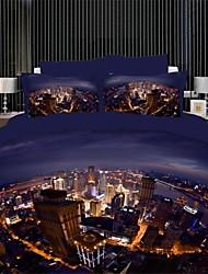 conjunto de funda nórdica, decoración para el hogar casa delux textil 100% algodón estampado 3d Juego de cama con el patrón de la ciudad