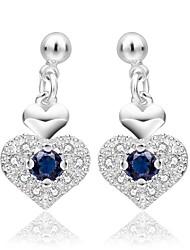 Minze 925 Silber blau Zirkon Herz Ohrringe