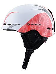 invierno luna líneas unisex otoño EPS + pc blanco + rojo super ligero casco de esquí