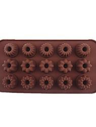 15 buracos moldes flores gollum forma de bolo de gelo geléia de chocolate, silicone21 × 10,7 × 2 centímetros (8,3 × 4,2 × 0.8inch)