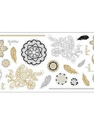 Séries Totem Tatuagem Adesiva - Estampado - para Feminino/Girl/Adulto/Adolescente - de Papel - Dourada - #(20x10x0.2) #(1)