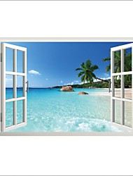 Wall Stickers Wall Decals, Beach Beautiful Scenery PVC Wall Stickers.