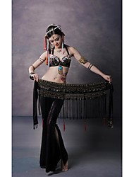 Belly Dance Belt Unisex Training / Performance Velvet Beading / Copper Coins / Tassel(s) Dropped W 63'' x H 18''