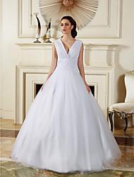 Ball Gown Wedding Dress - White Floor-length V-neck Chiffon/Tulle