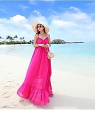 v-cuello sin respaldo de missfox mujer vestido bohemio que la nieve hace girar condole falda de la playa de mostrar el vestido doliday costera delgada