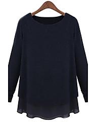 costura chiffon das mulheres com mangas compridas tornar camisola