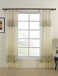 moderna arquitectura dos paneles de cortinas transparentes de poliéster habitación amarilla tonos