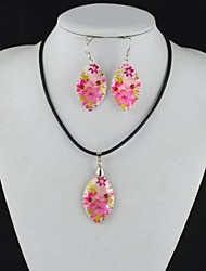 Toonykelly Fashionable Flower Natural Shell Cowry(Earring and Necklace) Jewelry Set
