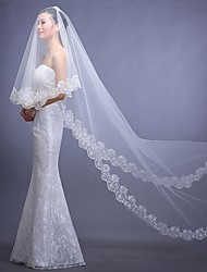 Wedding Veil One-tier Veils for Short Hair Lace Applique Edge 112.2 in (285cm) Tulle / Lace Ivory