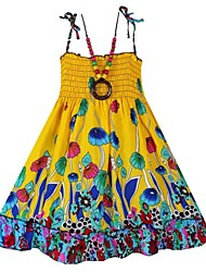 Girl's Fashion Dress+Necklace Flower Print Bohemia Beach Kids Clothing