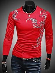 Men's O-Neck Printed Long Sleeved T-shirt