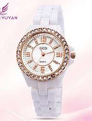 GEDI® Luxury Brand Women Watches Fashion Rose Gold Round Dial Rhinestone Quartz Ceramic Watches Women(Assorted Color)