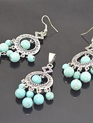 Toonykelly Vintage Antique Silver Plated Turquoise Stone Bead(Earring and Necklace) Jewelry Set