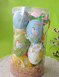 Cock Pattern Easter DIY Painted Eggshell ,Plastic 12Pcs/Bag