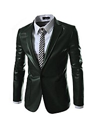 MAIDU Men's Slim Fit Fashion a Double Bag Leather Suit Coat
