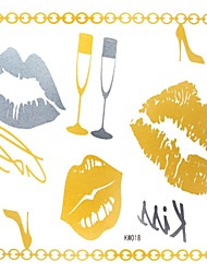 2 Pcs Waterproof Gold Glitter Gold And Silver Lips Tattoo Stickers