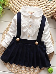 Girl's Pure Cotton Dress Long Sleeve Braces Dress