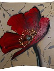 vendange fleur rouge velours taie d'oreiller décoratif sculpture sur bois