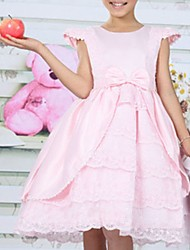 Snotty kid's Fashion Cute Elegance Round Collar Sleeveless Bow Dress