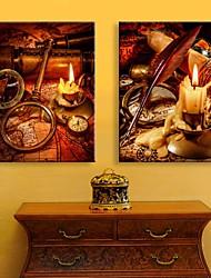 E-HOME® Stretched LED Canvas Print Art The Candle Flash Effect LED Flashing Optical Fiber Print Set of 2