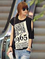Women's Letter Black T-shirt,Casual Round Neck Asymmetrical Sleeve Hollow Out
