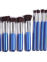 Professional Makeup Brush Set with 10Pcs Blue Brushes