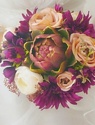 Vintage Pretty Round Shape Satin Ribbon Wedding Bridal Bouquet