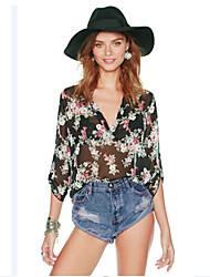 European Fashion imprimé floral chemise à manches longues de Kakani femmes