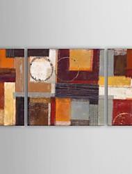 pintura a óleo moderna set luz solar abstrata de 3 pintados à mão lona, com quadro esticado