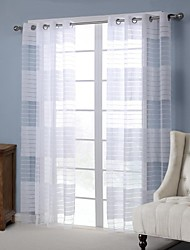 One Panel Modern Stripe White Living Room Rayon Panel Curtains Drapes