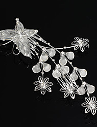 Pamela Women's Silver Plated Crystal Flowers Butterfly Bridal Tiara Hair Slide Comb Pin
