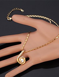 "U7® Lucky Number ""6"" Pendant Necklace 18K Real Gold Plated Rhinestone Pearl Necklace Fashion Jewelry"