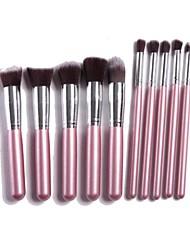 Professional Makeup Brush Set with 10Pcs Pink Brushes