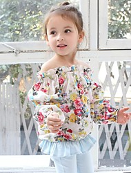 Girl's Floral Blouse,Cotton Blend Spring / Fall Blue / White