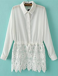 Women's White Blouse , Shirt Collar Long Sleeve