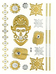 металл золотой Будда руководитель татуировки наклейки