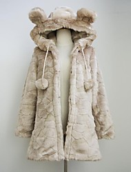 Fur Coat Fashion Long Sleeve Hooded Faux Fur Party/Casual Coat