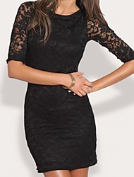 vestido de encaje halter negro quinta manga de las mujeres