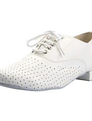 Non Customizable Men's Dance Shoes Modern Leatherette Flat Heel White