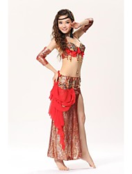 Belly Dance Stage Performance Embroider Elegant Outfits - Set of 3 (Top, Skirt and Handwears)