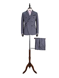 Gray   Stripes   Tailored  Fit  Suit In  100%  Wool